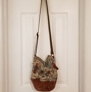 Free People Distressed Floral Crossbody Bag